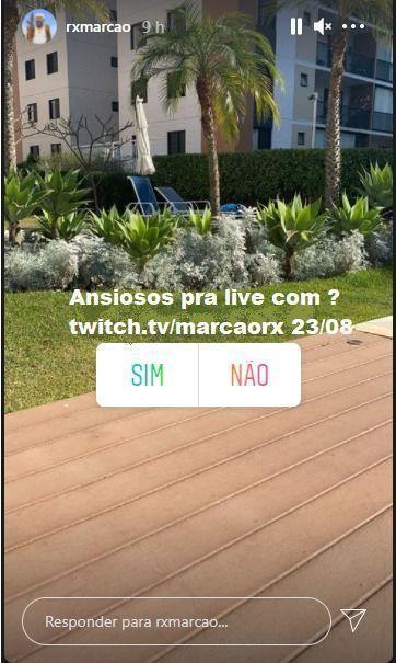 Streamer MarcãoRX mostrara o rosto dia 23/08 afirma o proprio em suas redes sociais